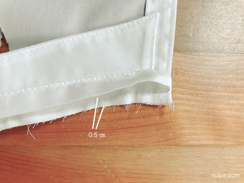 見頃と衿を縫う