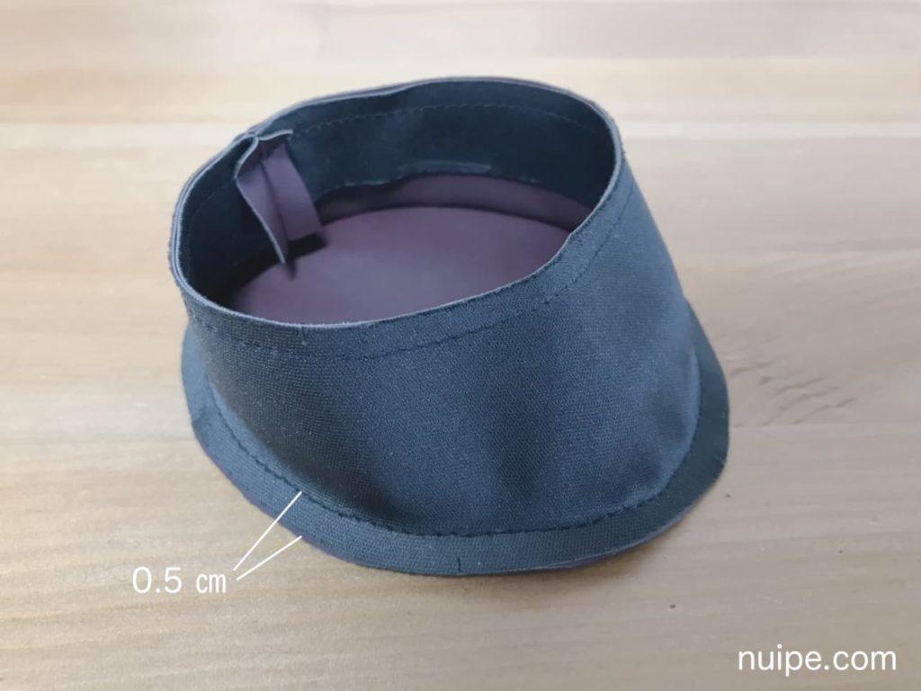 側面と靴底を縫う