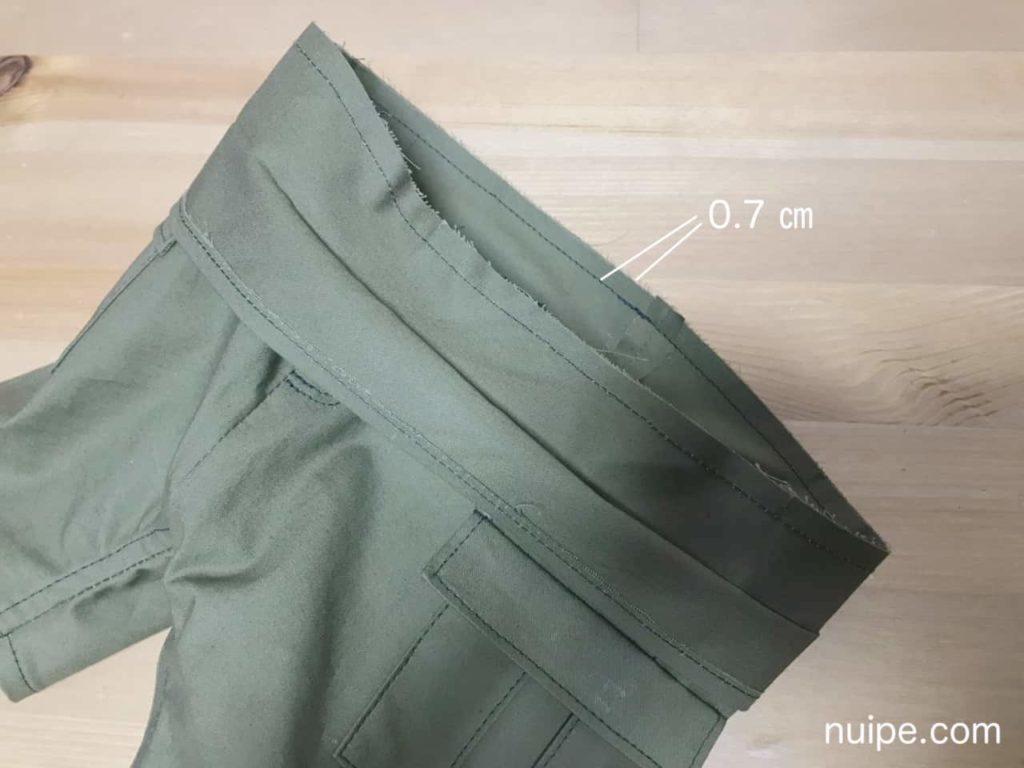 ベルトとズボンを縫う