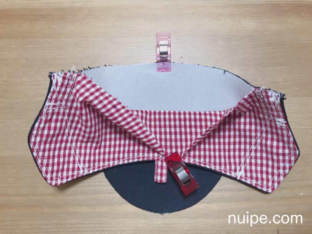 靴底と側面の表布を縫う