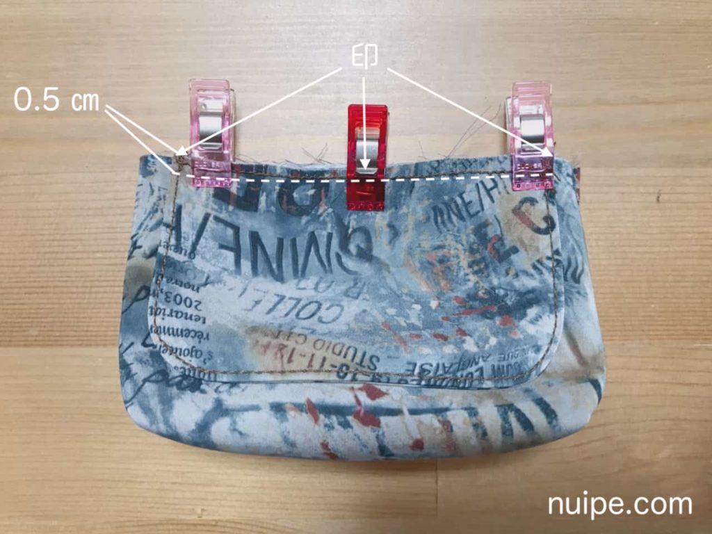 フタと表バッグを縫う