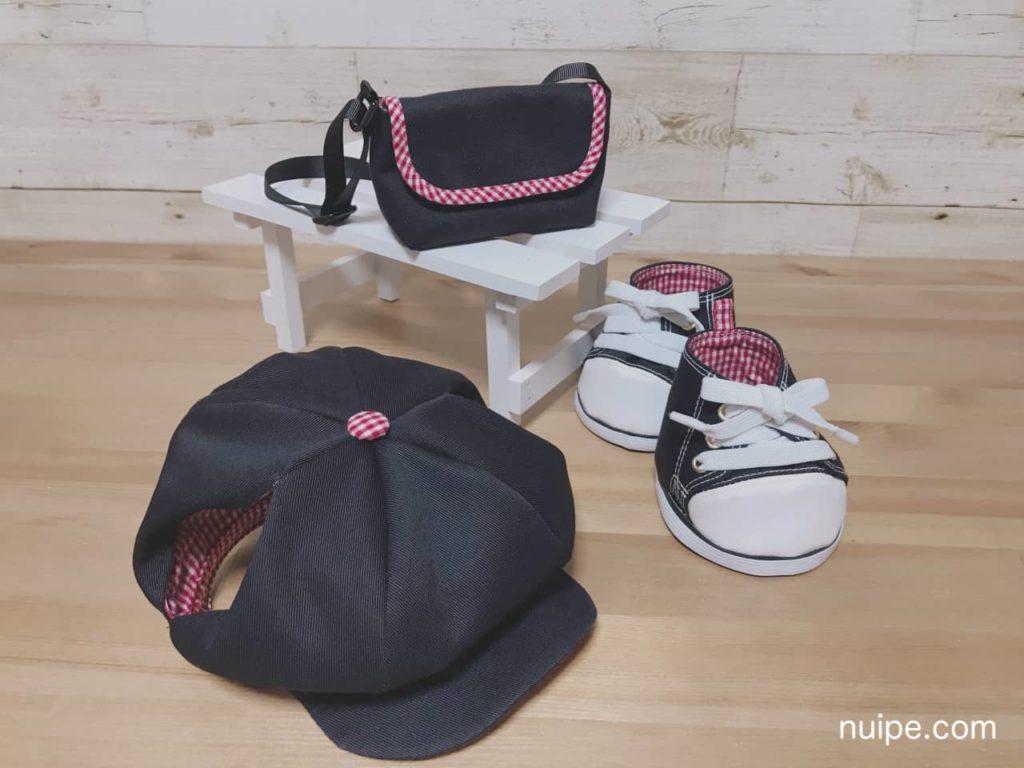 同じ布で作った帽子とバッグと靴