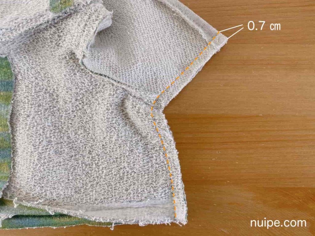 袖下とわきを縫う