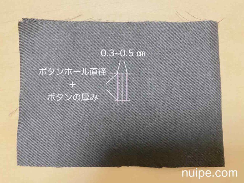 ボタンホールの手縫いの印