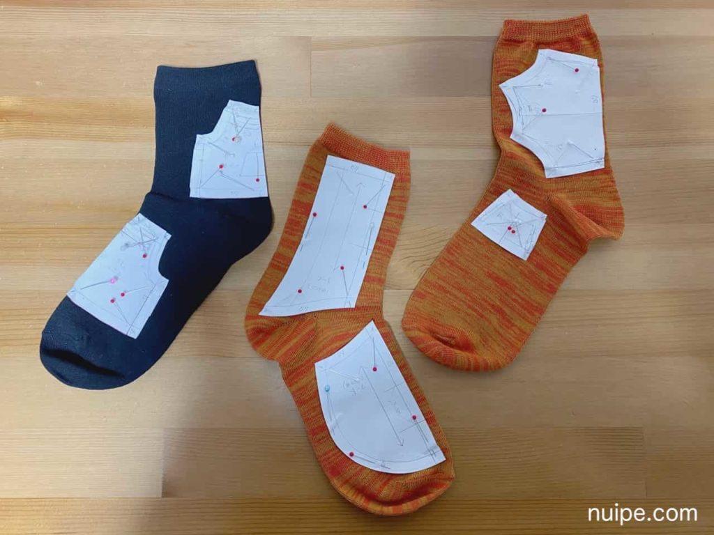 靴下パーカーの型紙配置