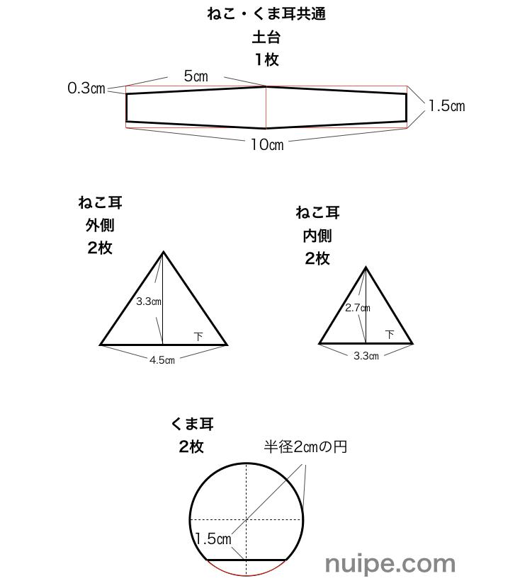 ケモ耳の型紙の作図