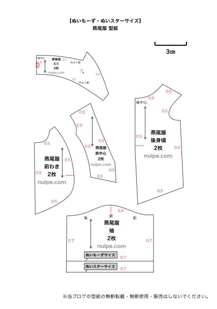 燕尾服の型紙イメージ