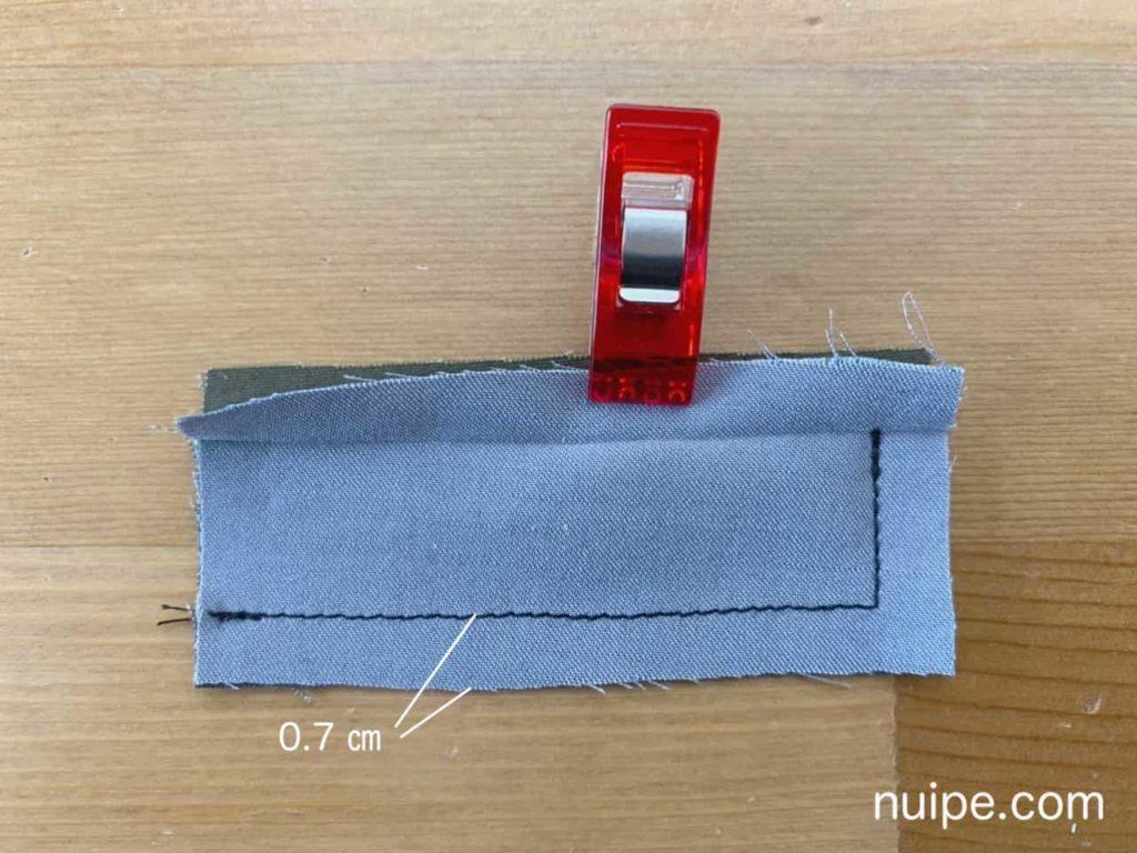 L字に縫う
