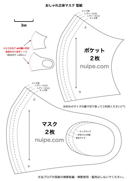 型紙 立体 作り方 の の マスク