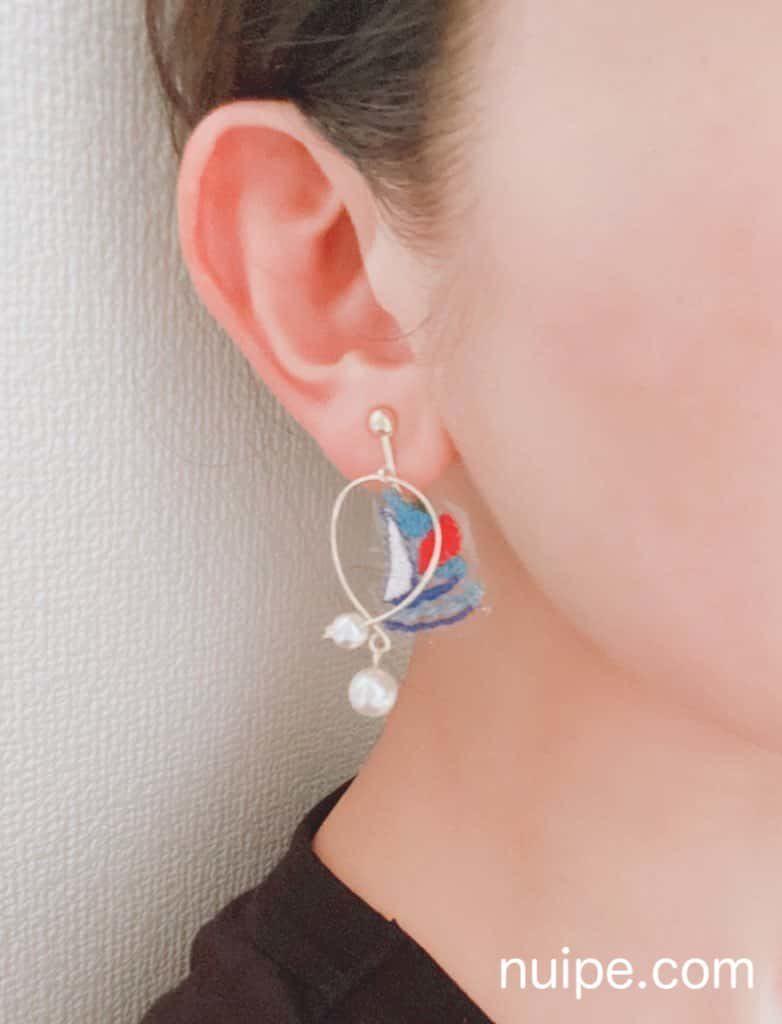 刺繍で作ったイヤリング
